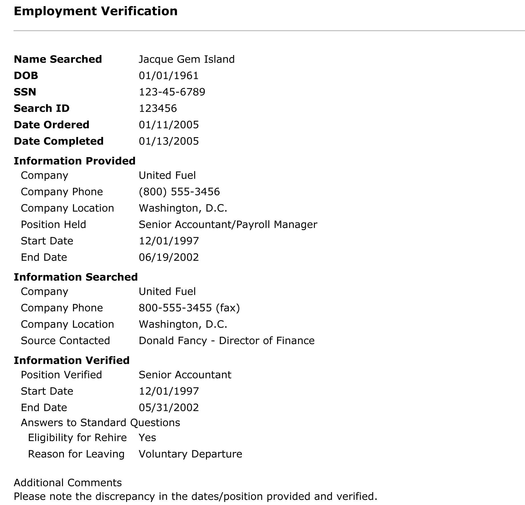 Employment Verification Form Sample Universal Background Screening  Employment History 21